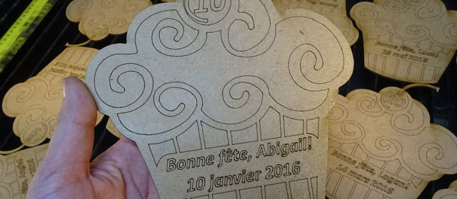 "Custom Wood Birthday Card: 1/8"" or 3 mm thick MDF laser engraved and cut"